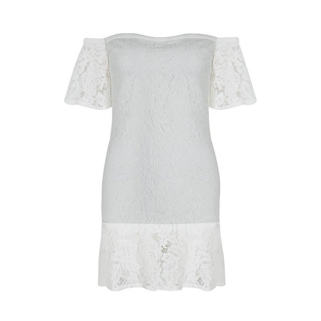 White Lace Off shoulder Mini Dress - DIOR BELLA