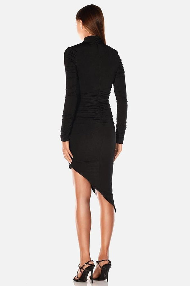 Black Cut-out Long Sleeve Bodycon Midi Dress - DIOR BELLA