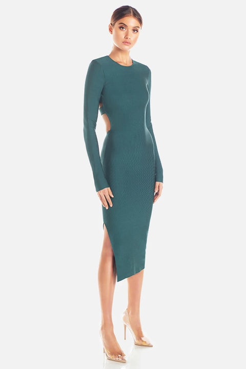 Teal Long Sleeve Open Back Bodycon Dress - DIOR BELLA