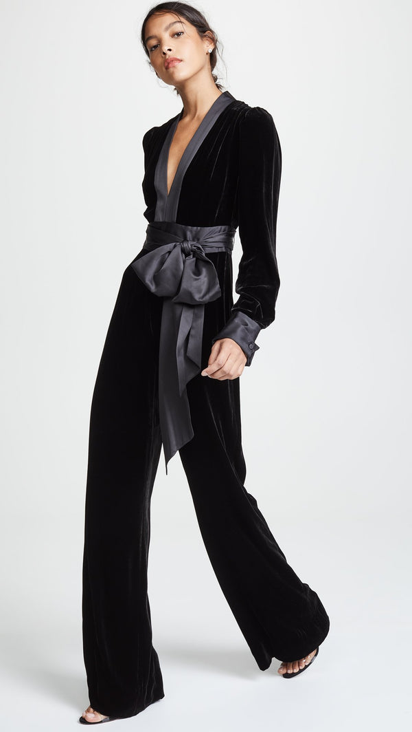 Tasha Black Velvet V-Neck Jumpsuit