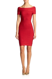 Red Off shoulder Bandage Mini Dress - DIOR BELLA