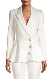 White Peplum Gold Button Blazer - DIOR BELLA