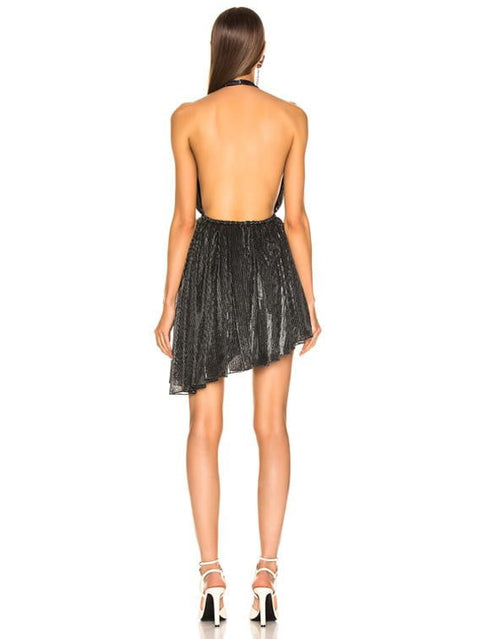 Metallic Black Open Back Halter Mini Dress - DIOR BELLA
