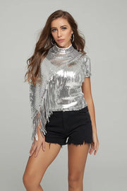 Silver  Mock Neck Fringe Blouse