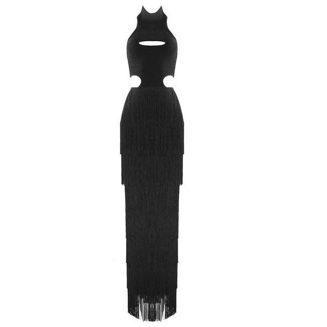 Black Cutout Side Fringe Bodycon Maxi Dress