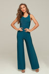 Teal Open Back Bandage Jumpsuit