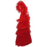 Red One Shoulder Ruffled Tulle Gown - DIOR BELLA