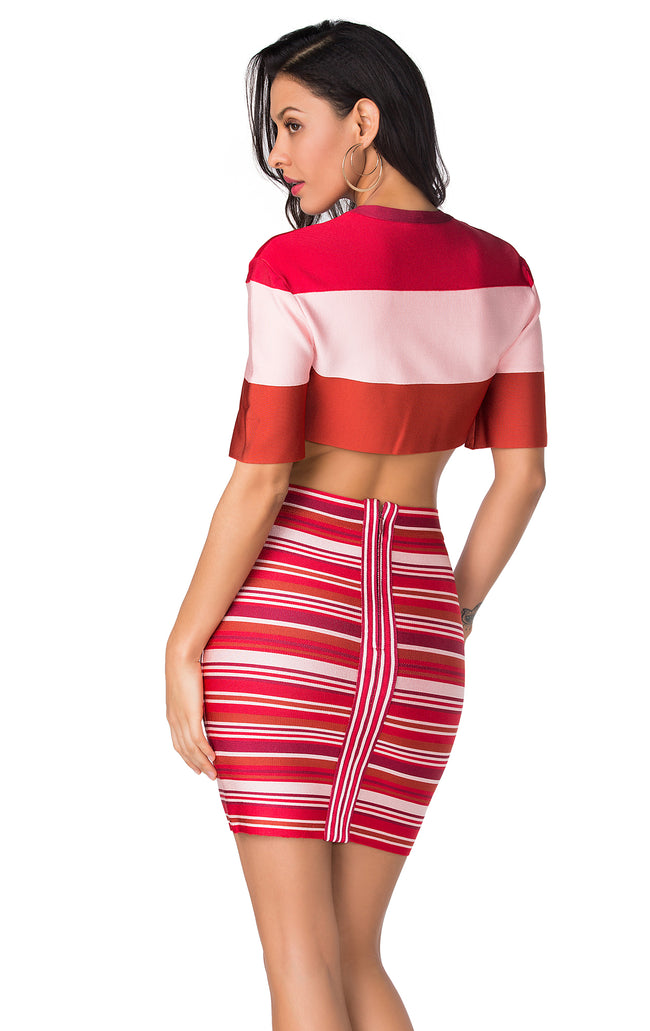 Pink Multi Bandage Crop Top Skirt Suit