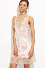 Pink Lace And Velvet Chemise - DIOR BELLA