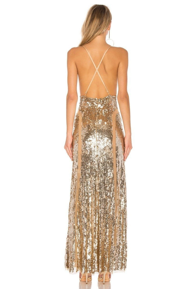 Cinnamon Sequins X-Back Maxi Dress - DIOR BELLA