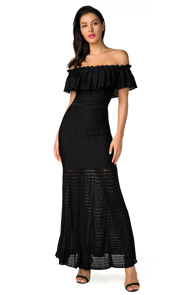 Black Ruffled Off Shoulder Bodycon Maxi Dress