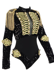 Black Sequins Beaded Long Sleeve Bodysuit