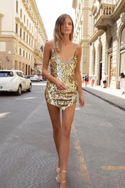 Gold Sequins Open Back Mini Dress - DIOR BELLA
