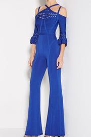 Vivica Royal Blue Bandage Wide Leg Jumpsuit - DIOR BELLA