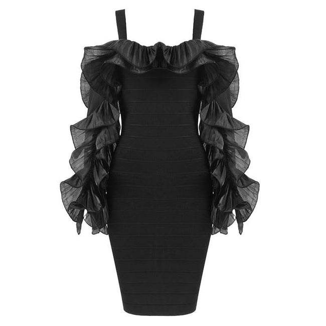Black Ruffle Sleeve Bandage  Mini Dress - DIOR BELLA