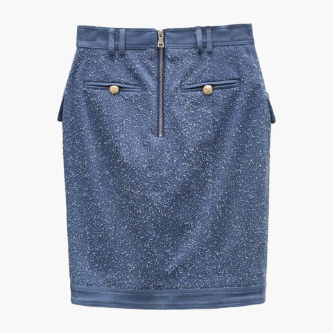 Blue Embossed-Button Asymmetrical Skirt - DIOR BELLA
