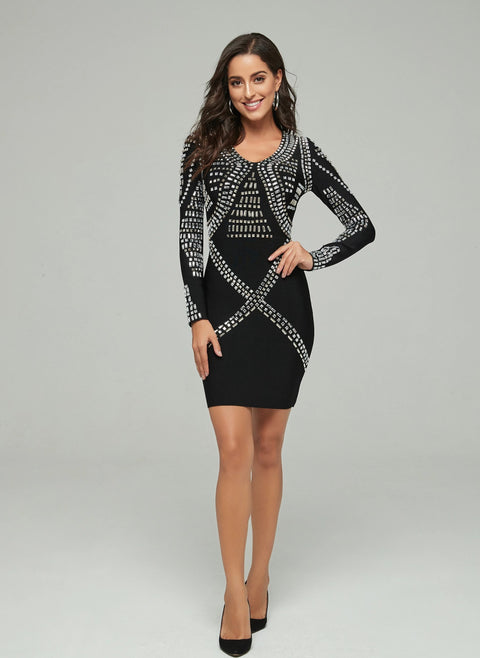 Black Beaded Long Sleeve Bandage Cocktail Dress - DIOR BELLA