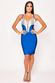 Razzle Dazzle Deep V-Neck Beaded Bandage Dress - DIOR BELLA
