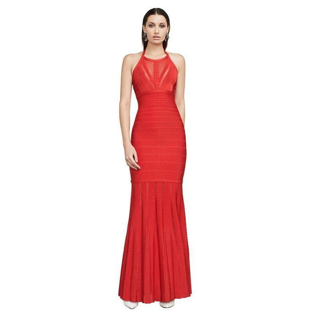 Amber Red Halter Bandage Mesh Maxi Dress - DIOR BELLA