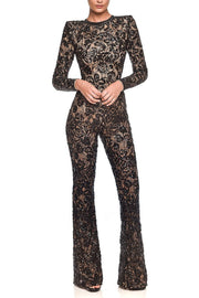 Lexis Black Sequins Lace Bandage Jumpsuit