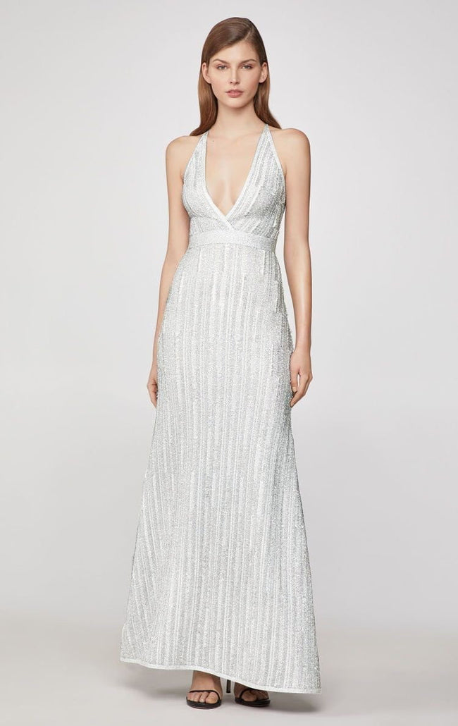 Gray White Luxe Deep V-Neck Bandage Gown - DIOR BELLA
