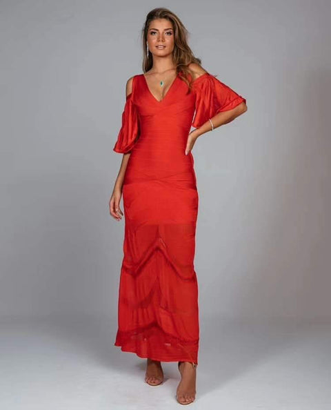 Red Cold Shoulder Lace Bandage Midi Dress - DIOR BELLA