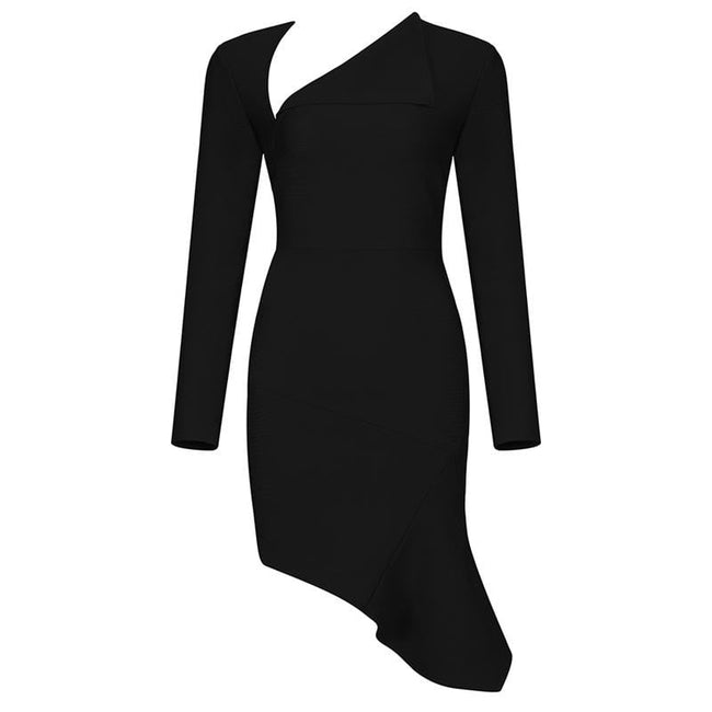 Asymmetrical Neckline Long Sleeve Mini Dress