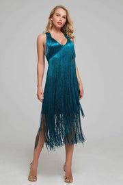 Teal V-Neck Bandage Fringe Midi Dress - DIOR BELLA
