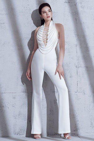 Pearly White Bodycon Knit Jumpsuit