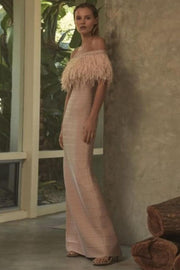 Raquel Off Shoulder Feathers Bandage Gown - DIOR BELLA