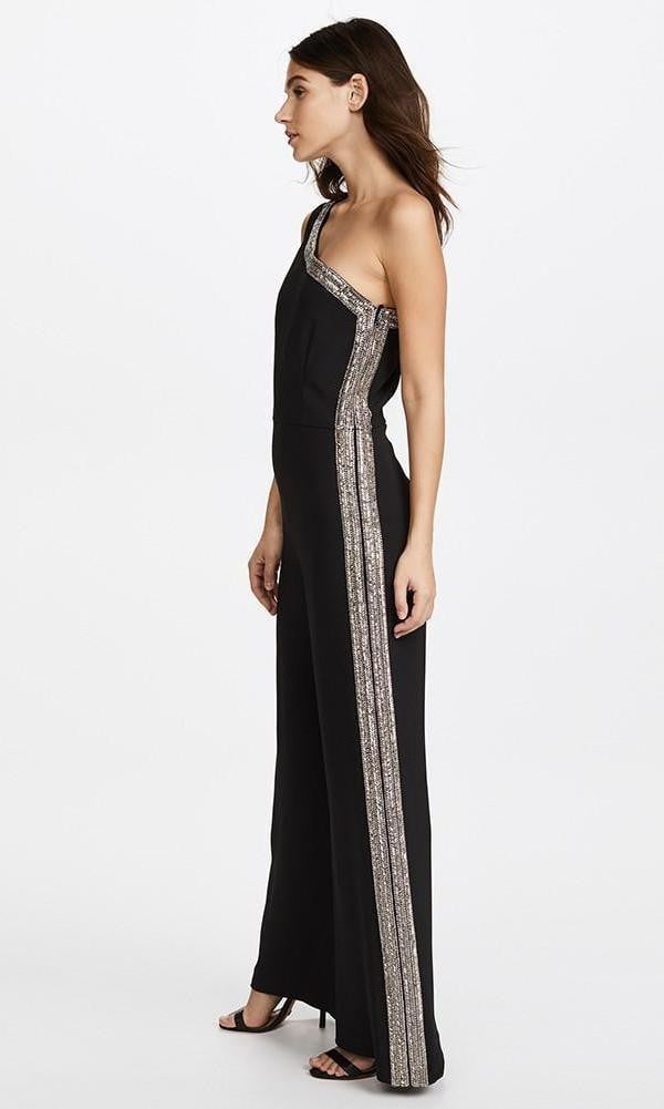 Larissa Black One Shoulder Sequins Jumpsuit - DIOR BELLA
