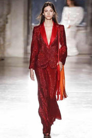 Marva Red Sequins Blazer And Pant Suit - DIOR BELLA