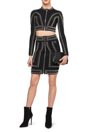 Black Beaded Crop Top Skirt Set - DIOR BELLA