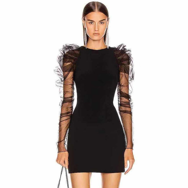 Black Ruched Tulle And Bandage Mini Dress