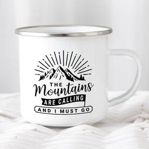 Mountain Mug Enamel Mug Wanderlust Camping Mug The