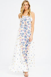 White Floral Ruffle Button Front Maxi Dress - DIOR BELLA