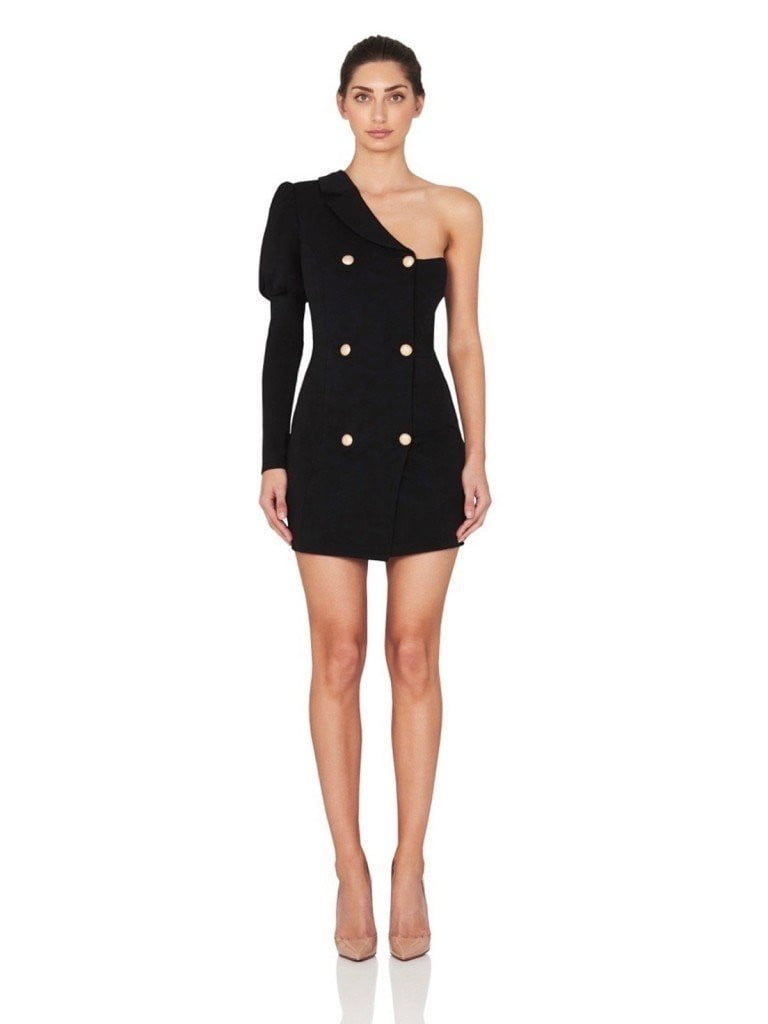 Lizzie Black Puff Sleeve One Shoulder Blazer Jacket Dress - DIOR BELLA