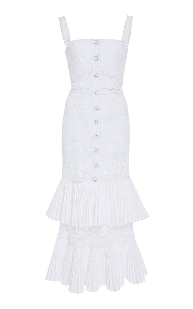 White Lace Tired Ruffle Midi Dress - DIOR BELLA
