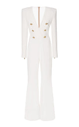 Shay Deep-V Long-Sleeve Six-Button Flared-Leg Crape Jumpsuit - DIOR BELLA