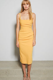 Tangerine Scoop Neck Bandage Midi Dress - DIOR BELLA