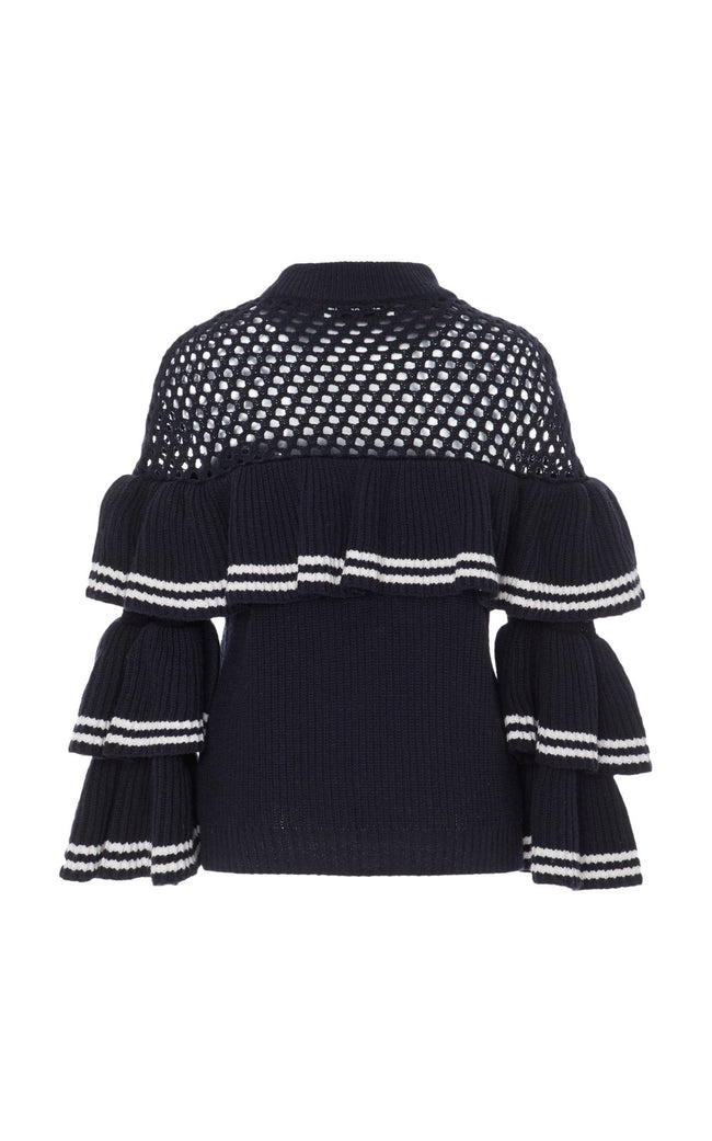 Open Knit Stripe Frill Sweater - DIOR BELLA