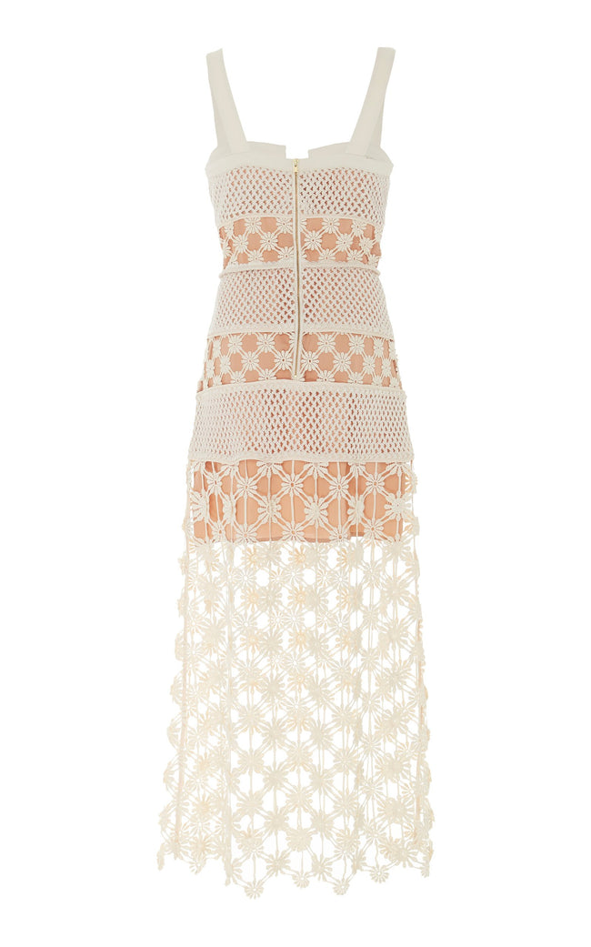 White Crochet Lace Cutout Midi Dress - DIOR BELLA
