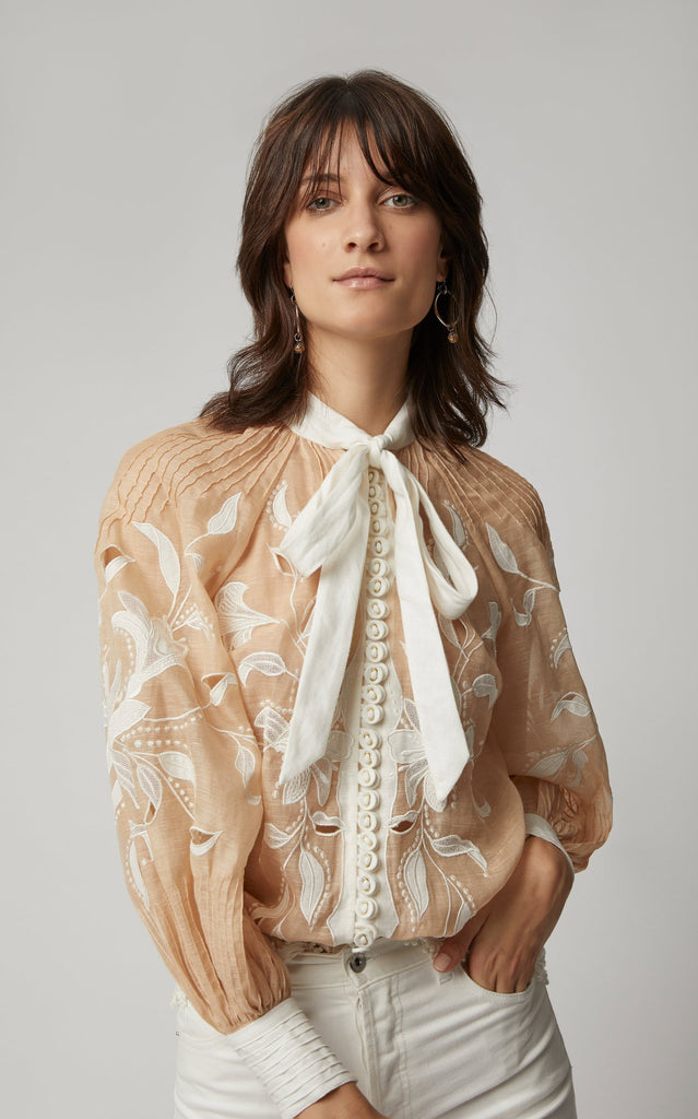 Nude Sheer Embroidered Blouse - DIOR BELLA