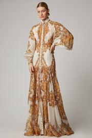 Queen Cream Yellow Paisley Puff Sleeve Maxi Dress - DIOR BELLA