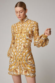 Yellow Paisley Print Scallop Beaded Mini Dress - DIOR BELLA