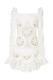 White Doily Lace Mini Dress - DIOR BELLA