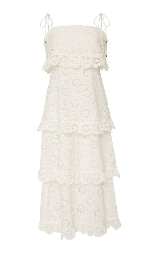 Mya White Lace Ruffled Midi Dress - DIOR BELLA