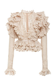 Beige Long Sleeve Lace Blouse - DIOR BELLA