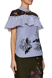 Bev Blue Stripe Ruffle Blouse - DIOR BELLA