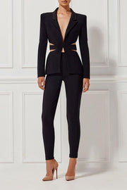 Black Cutout Back Pantsuit